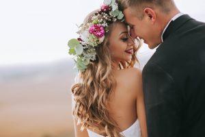 Wedding Day Couple Smiling Happily